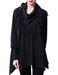 ELLAZHU Femme Écharpe Chauve-souris Manches Longues Blouse Sweatshirt DY107