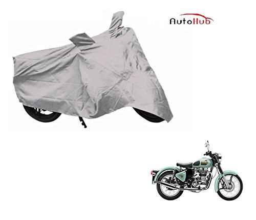 Auto Hub Premium Silver-Matty Bike Body Cover For Royal Enfield Classic 350  available at amazon for Rs.249