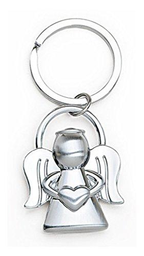 Schlüsselanhänger Engel Schutzengel mit Herz 4cm, Metall silber, Glücksbringer Talisman Beschützer, mit Schlüsselring