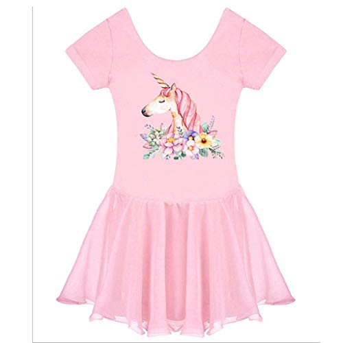 Arts Kostüm Martial - HUO FEI NIAO Mädchen Martial Arts Kleidung Sling Ballett Tanz Rock Kostüme Einhorn Rock (Color : Pink, Size : M)