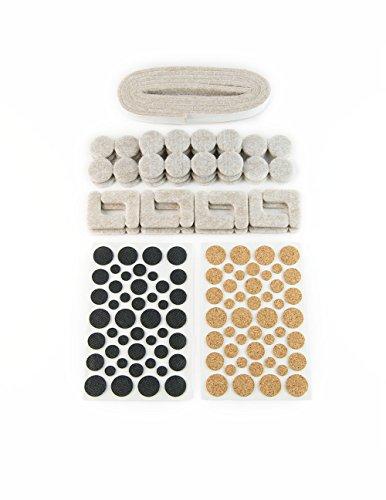 Protectores de fieltro goma corcho en diferentes dimensiones y formas, autoadhesivos, 149 unidades; protección para patas de muebles, sillas o mesas - Made in Canadá