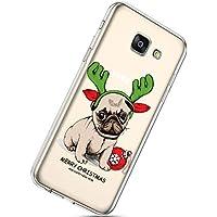 Handytasche Samsung Galaxy A7 2017 Weihnachten Handyhülle Durchsichtig Schutzhülle Silikon Dünn Case Transparent Handyhüllen Kirstall Clear Case Etui TPU Bumper Schale,Hund