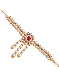 I Jewels Gold Plated Kundan Double line Bajubandh Jewellery Set for Women (PB02Q)