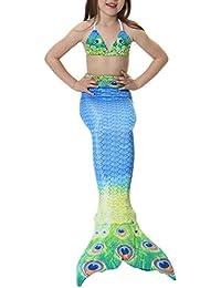 PrettyCos 3PCS Bikini Traje de Baño Sirena para ninas Bañador Disfraz de Princesa Sirena Cosplay Swimwear