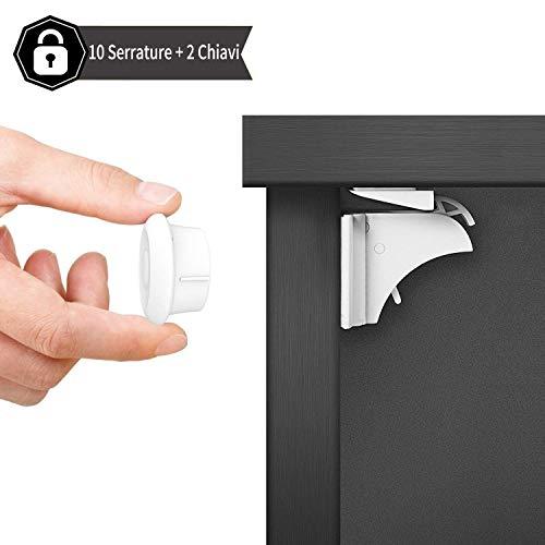 Dokon chiusure sicurezza bambini (10 serrature + 2 chiavi) bambino serrature magnetiche di sicurezza per armadietto, cassetto, armadio, non necessitano attrezzi, con forte adesivo