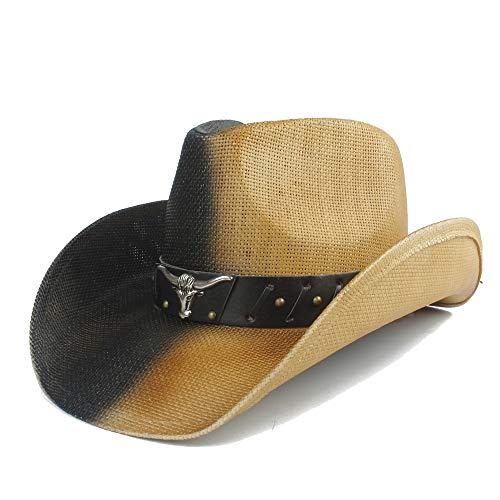 XXY Kappe Sonnenhut Strohweibchen Kappe Zweifarbiger Kuhkopfgürtel aus Metall Dekorative Cowboy-Jazzkappe für Männer Größe 58 cm beiläufig (Farbe : 1, Größe : 58 cm) (Stroh-cowboy-hut Bulk Für Kinder)