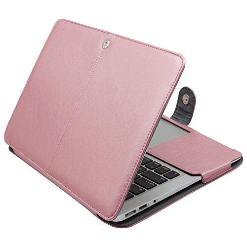 MOSISO Hülle Kompatibel MacBook Air 11 Zoll, Premium Qualität PU Leder Schlanke Schutzhülle Tasche Cover Kompatibel MacBook Air 11 Zoll (A1370 / A1465), Rose Gold