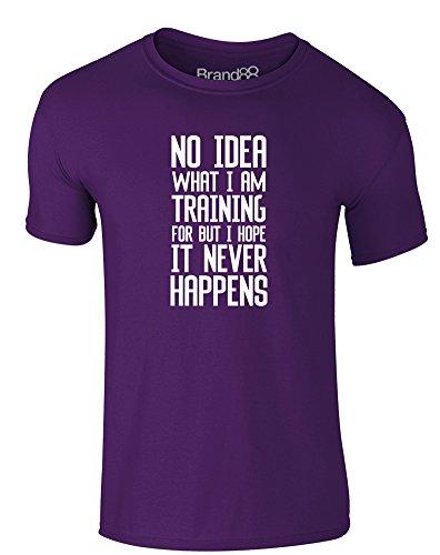 No Idea What I'm Training For, Erwachsene Gedrucktes T-Shirt - Lila/Weiß L = 104-109 (Ideen Erwachsene Valentine)