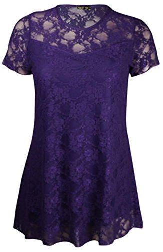Chocolate Pickle ® Neuen Frauen Plus Size Short Sleeve Blumen Kontrast Spitze Tuniken 42-56 Purple