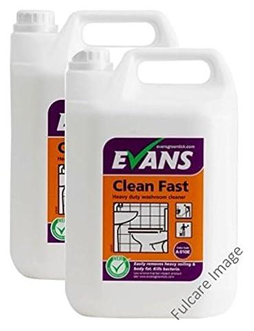 2 x Evans Clean Fast Perfumed Anti Bacterial Washroom Cleaner
