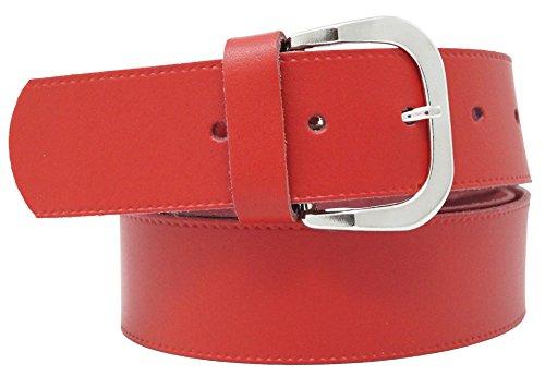 Cinturón de cuero real para mujeres y hombres - Ancho 4 cm - Negro/Marrón/Rojo/Blanco/Gris/Burdeos - Hecho en Alemania (120cm, Rojo 02)