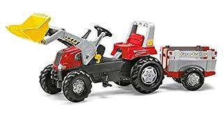 Rolly Toys 811397 rollyJunior RT   Traktor mit Frontlader   Lader und Anhänger rollyFarm Trailer   Flüsterreifen u Sitzverstellung   Motorhaube öffenbar   ab 3 Jahren   Farbe rot/schwarz/grau (B001381OIK)   Amazon Products