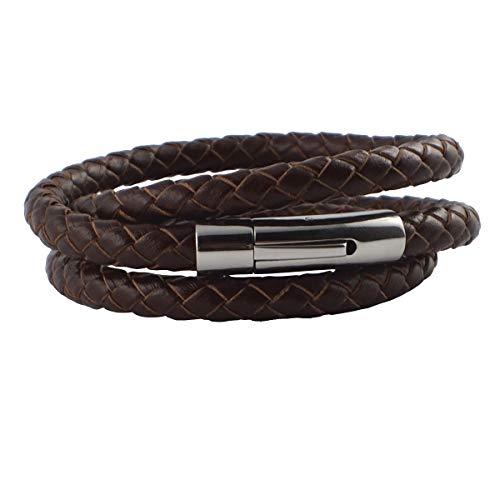 König Design Lederkette 6mm Herren Halskette braun 50 cm lang mit Verschluss Leder geflochten (Leder-halskette Für Anhänger)