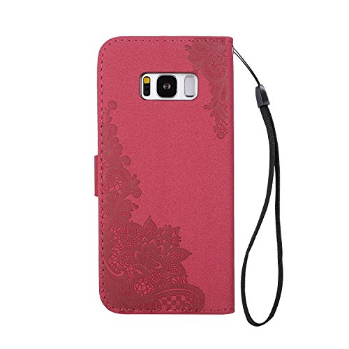 Phenix Blumen Prägemuster Faux Leder Horiontal Folio Stand Case mit Lanyard Card Slots für Samsung Galaxy S8 Plus ( Color : Red ) Red