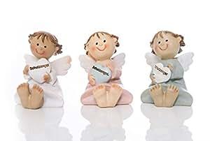 3 Petit ange assis figurine (5,5 cm) avec cœur blanc, rose et bleu; anges comme cadeau de baptême, communion, anniversaire, mariage ou naissance, petit dankeschön