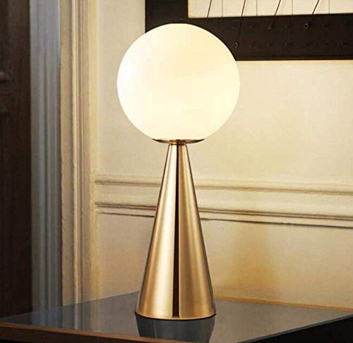 Tischlampe Nachtlicht Nachttischlampe Leselampe Kugel Glas Lampenschirm Gold Schmiedeeisen Kegel Lampe mit Knopfschalter Wohnzimmer Home Decoration -