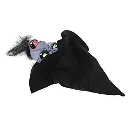 ruselige Maske Gruselige Hexe Masken Mit Haar Hut Cosplay Kostüm Requisiten - Dunkle Nacht Hexe ()