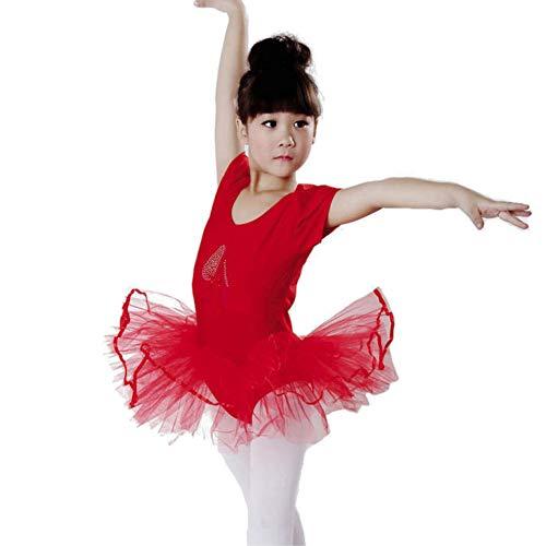 Lazzboy Karneval Kostüme Kleinkind Mädchen Gaze Trikot Ballett Body Dancewear Kleid Kleidung Outfits(Höhe130,Rot)