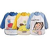 oral-q Unisex Kinder Baby 's Craft Malerei Schürze Baby wasserdicht Lätzchen mit Ärmeln und Tasche, 6–36Monate, Set von 3