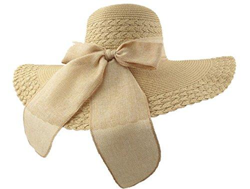 Chapeau De Paille D'arc D'été Dame Chapeau De Plage Chapeau Chapeau De Vacances Casquettes De Tourisme Beige
