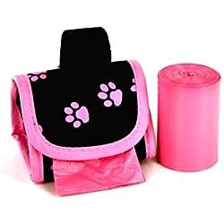 Hund Walk Staubbeutel 2-roll Designer Taschen, Pink Paw Pink/Citrus