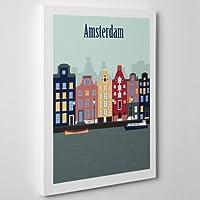 QUADRO MODERNO su Tela Canvas - AMSTERDAM Olanda - Graphic Riding Vintage Illustrazione - 50x70cm - Spessore 2cm
