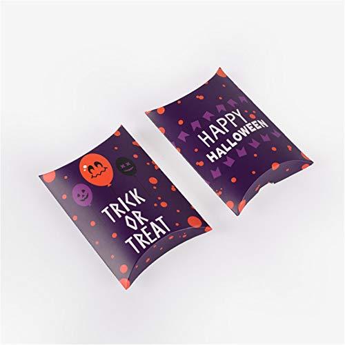 Szl 10 Stück Halloween-lustige Papiertüten Süßigkeiten Kissen Box Kreative Verpackung