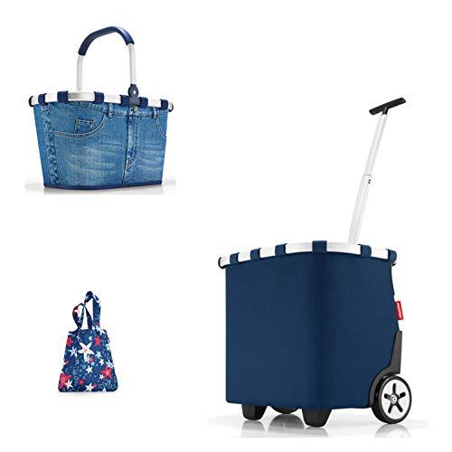 reisenthel carrybag/Einkaufskorb/Henkelkorb Jeans + carrycruiser/Einkaufstrolley darkblue + Mini Maxi Shopper