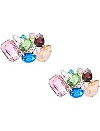 Clips Santfe con coloridos diamantes de imitación para decoración de zapatos de fiesta o boda, clips con varios diseños (color1)