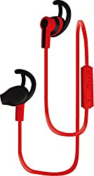 Coby Built-In Mic, Sweat Resistant, Tangle-Free Flat Cable Headphone, CEBT-402-RED, Red