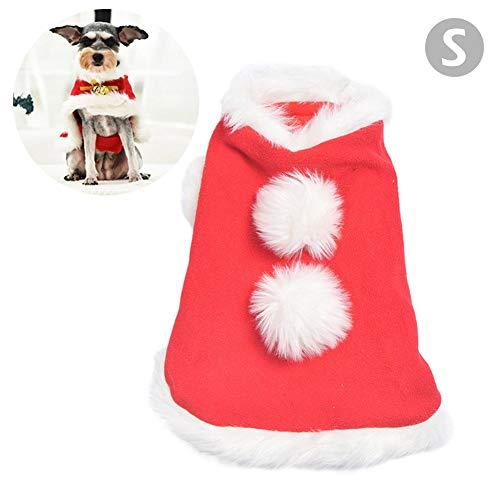 dream-cool Christmas Pet Cloak - Weihnachtskostüm mit Glöckchen, weichem, dickem Polarfleece, Haustierkleidung, Anziehsachen für Welpen, Kätzchen, kleine Katzen und - Dickens Of A Christmas Kostüm