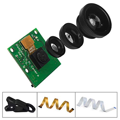 for Raspberry Pi Camera 5MP 1080P Video Webcam Camera Module with 15CM  Ribbon Cable and Add-on camera lens for Raspberry Pi 3 B+ and Raspberry Pi  zero