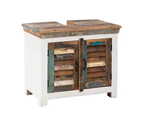 Woodkings® Waschbeckenunterschrank Perth recyceltes Holz weiß bunt rustikal Lamellentür Waschtischunterschrank Badmöbel Badezimmer Badschrank Bad Unterschrank Massivholz