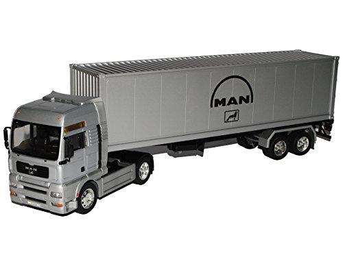 MAN TG510A 40' Container LKW Truck Silber 1/32 Welly Modell Auto mit individiuellem Wunschkennzeichen