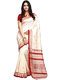 AppleCreation Women's Silk Cotton Saree With Blouse Piece (Bhagalpuri Sarees 7Pj5011, Off-White, Free Size)