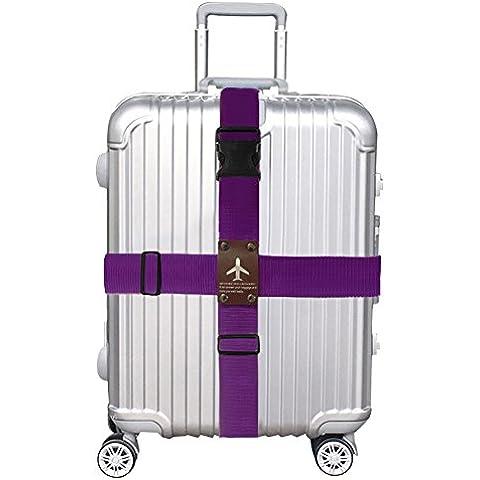 Cinghia per valigia, Croce Design staccabile regolabile per valigia bagagli borsa viola Purple
