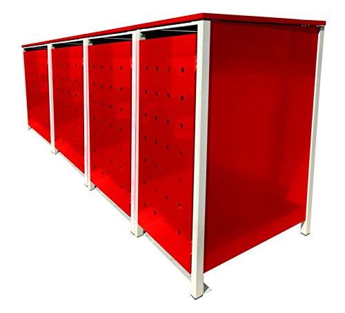BBT@ | Hochwertige Mülltonnenbox für 4 Tonnen je 240 Liter mit Klappdeckel in Rot / Aus stabilem pulver-beschichtetem Metall / Ohne Stanzung / In verschiedenen Farben sowie mit unterschiedlichen Blech-Stanzungen erhältlich / Mülltonnenverkleidung Müllboxen Müllcontainer - 2