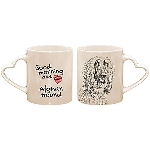 Levriero afgano, Tazza con un cane, tazza, ceramica, nuova collezione, manico cuore - Cuore Afgano
