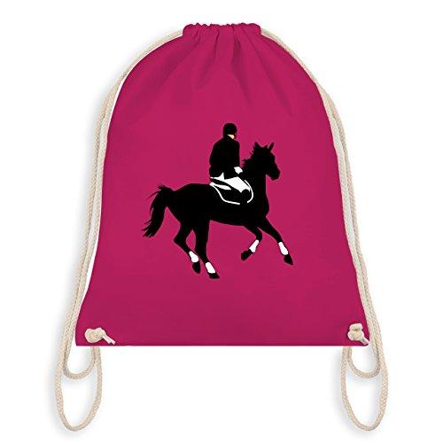 Reitsport - Dressur Pferd Reiter Dressurreiten - Unisize - Fuchsia - WM110 - Turnbeutel I Gym Bag (Reiter-silhouette)