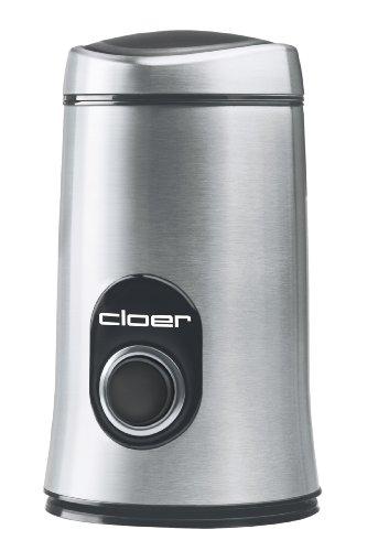 Cloer 7579 Elektrische Kaffeemühle/150 W/für 50 g Kaffeebohnen/mattiertes Edelstahlgehäuse