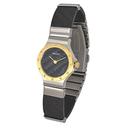 Aristo da donna al quarzo orologio da polso Carbon/acciaio inossidabile Model Dau 2d18C impermeabile 3ATM