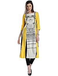 Amayra Women's Rayon Printed Long Front Slit Kurti