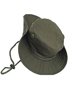 Leisial Sombrero de Pescador Camuflaje Del Ejército de Ala Ancha Borde Redondo Anti-UV Algodón Acampada Senderismo...