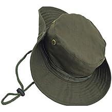 JUNGEN Camuflaje sombrero redondeado protección solar Boone sombrero al aire libre escalada selva hombres mujeres tácticas gorra militar uniformes (Verde)