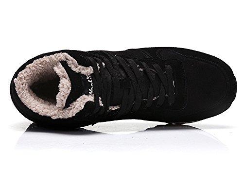 Minetom Stivaletti Invernali Con Imbottitura Pelliccia Caldo Unisex Donna Uomo Shoes Flat Inverno Sneaker Stivali Da Neve Scarpe Sportive Nero