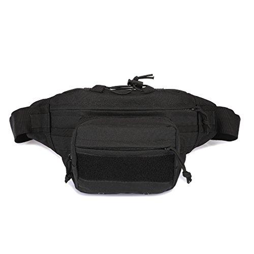 Military Hip Pack Utility Belt Tactical Hüfttasche Camo Molle EDC Tasche Kreuz Körper wasserdicht Fanny Packs Armee für Outdoor Wandern Klettern Laufen Reise Schulter Bauchtasche Schwarz