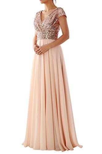 f03f40f4a7 MACloth Cap Sleeve V Neck Sequin Chiffon Bridesmaid Dress Formal ...