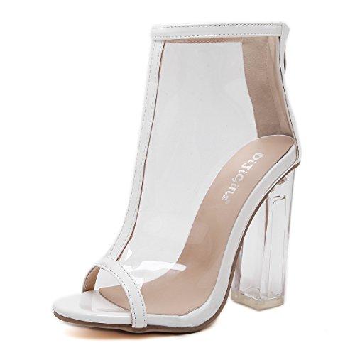 Aisun Damen Transparent Kunststoff Offene Zehe Reißverschluss Hoher Blockabsatz Stiefel Sandale Weiß