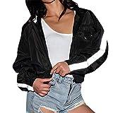 Autunno e Inverno Moda Donna Top manica lunga con cappuccio a righe Donna Outwear Cappotto Set felpa Donna Flash Strip Breve tasca metallica con cerniera Sexy ( Colore : Nero , Dimensione : Small )