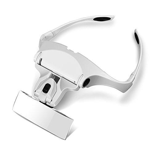 GHB Lupenbrille Kopfband Lupe 1.0X 1.5X 2.0X 2.5X 3.5X Facher Vergrößerung 2 LED Licht Lupenbrille für Nähen Juweliere Uhrmacher und Reparatur (Verpackung MEHRWEG)